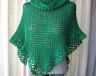 EMERALD GREEN Hand Knit Shawl Triangle Scarf in 100% Acrylic yarn