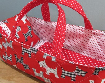 Doll Carrier, Red Scottie Dog Print,  14 Inches Long, Doll Basket