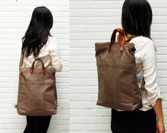 2 way tote bag backpack bag with leather strap