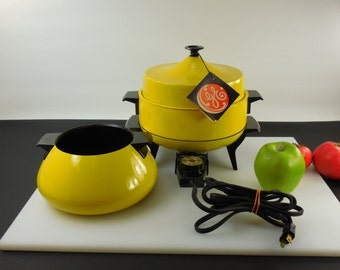GE General Electric Appliance - 1970s Mod Yellow - 3 in 1 Fondue Skillet Chafing Dish - The Creative Entertainer Collection