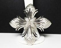 Trifari Maltese Cross brooch - Matte and High Gloss Silvertone - Vintage Crown Trifari Cross Pin - 1960s 1970s