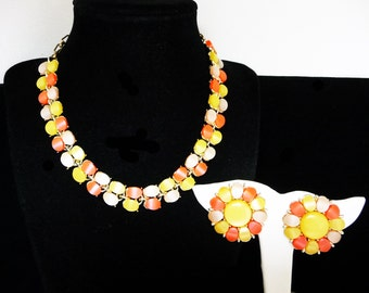 Lucite Necklace & Earring Set - Pearlsecent Pink, Yellow, White Demi Parure - Clip on Earrings and  Choker Necklace - Mid Century Mod 1960s