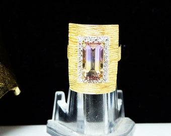 Ametrine Gemstone & Sterling Ring -White Spinel Accents -  Gold Plated - Modernist Rectangle Ring -  Vintage Pre 1997 - Size 5 Modern