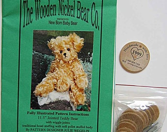 """RARE The Wooden Nickel Bear Co. Newborn Baby  11 1/2"""" Jointed Teddy Bear Craft Pattern with Joints, Wooden Nickel and Disks, Sewing Cellar"""