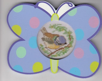 Songbird Cross-Stitch in Spotted Butterfly Frame
