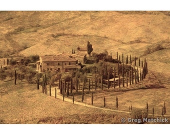 """Fine Art Sepia Photography of Tuscan Landscape - """"View Over a Farmhouse in Tuscany"""" - Composite Print"""