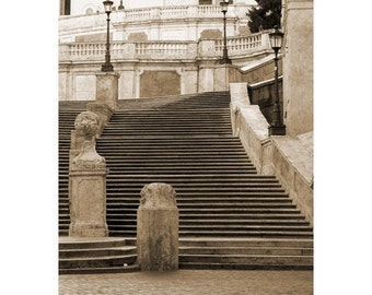 Fine Art Sepia Photography of the Spanish Steps in Rome