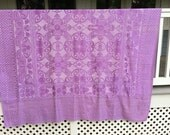 Vintage Bedspread Purple Cotton Coverlet  Silky Purple Thread Detailing Boho Hippee Vintage Bedding MOD Floral Pattern