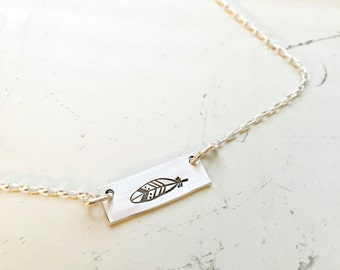 Feather, tribal, bar necklace sterling silver hand stamped