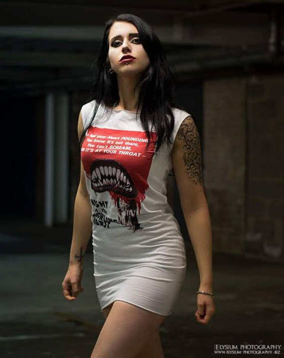 Night of the Howling Beast Horror Movie White Mini Dress Tunic S M L