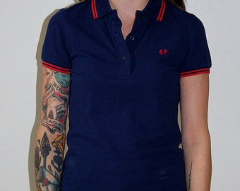 Reserved ** Fred Perry navy polo with red trim / size xs
