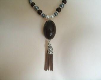Buddha Tassel Necklace, buddha jewelry buddhist jewelry boho jewelry zen new age meditation jodo shinshu hippie yoga bohemian necklace