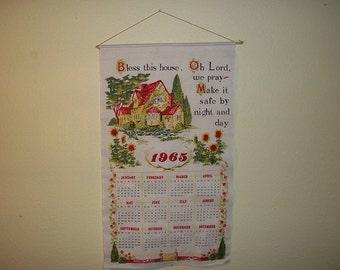 Vintage Retro Calendar Wall Hanging Towel Wood Dowel 1965