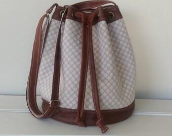Handbag: Bucket Bag, Leather and Floral