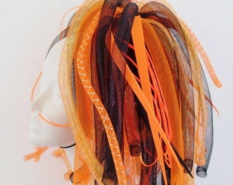 Cyberlox Orange Black Medium length Pigtail Falls Cybergoth Cyberpunk Neon Cyber Goth Punk Dreads Synth Wig Tie In Cyberpop