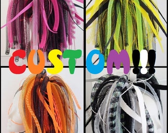 Custom You Pick Colors Cyberlox Neon Medium Length Cyberpop Kawaii Pink Blue Green Yellow Orange Red Black white Purple Cybergoth Pastel