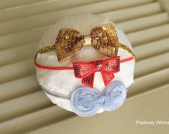 Christmas Headband, Newborn Headband, Bow Headband, Newborn Headband Starter Set, RTS, Baby Girl Headband, Gold Red Silver, Set of 3