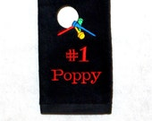 Poppy Golf Towel, Custom Grandparent Golf Buddy Gift, Personalize With Name, Grandma, Pappy, Oma, Pa, No Shipping Fee, Ships TODAY, AGFT 736
