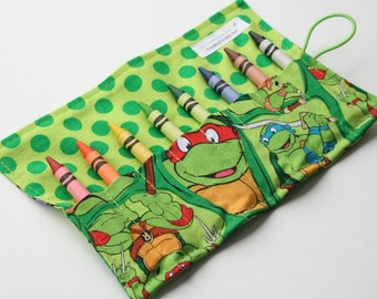 Crayon Caddy Roll Up - Teenage Mutant Ninja Turtles (Holds 8-16 Crayons)