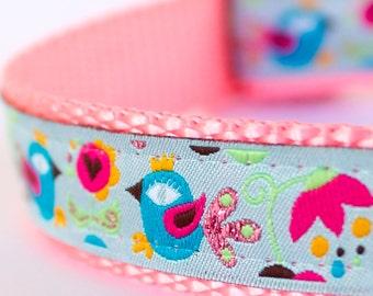 Aqua Birds Dog Collar, Pink Dog Collar, Shabby Chic Adjustable Dog Collar, Cottage Chic