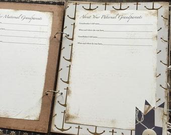 Vintage Nautical Theme Baby Boy Book, Navy Blue, Handmade Baby Album Scrapbook - Ready To Ship