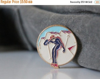 50% OFF Vintage metal pin from USSR, slalom skiing