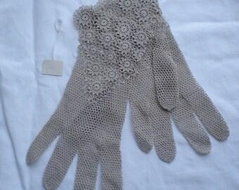 Crocheted lace ecru, cafe au lait, gloves, [#3] unused, wedding, evening, church, steampunk, Victorian, Edwardian