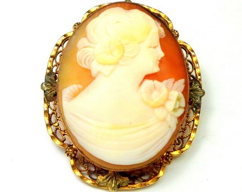Victorian, Hand Carved Conch Shell, Cameo Brooch, Gold Filled Frame, Vintage Cameo Brooch