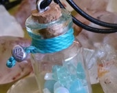 Tropical Waters Blue Green Natural  Mixed Gemstones Vial Bottle Pendant Leather Necklace