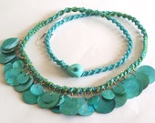 Turquoise Waters Modern Tribal Woven MOP Shell Necklace