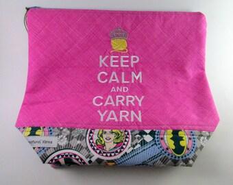 Keep Calm & Carry Yarn - Superhero Zippered Project Bag