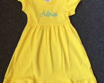Girls monogram short sleeve Boutique Ruffle Dress