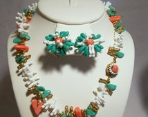 Miriam Haskell Beaded Jewelry Set Necklace Earrings Faux Coral and Faux Turquoise Beads Signed 516DGZ