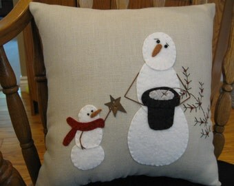 Christmas Miracle....Snowman Pillow Wool Applique Hand made