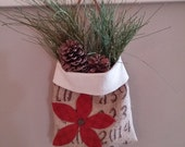 Christmas wall tote upcycled from coffee burlap bag