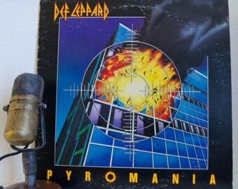 "ON SALE Def Leppard Vinyl Record Album 1980s MTV Hair Band Rock Pop,""Pyromania"" (1983 Rare Rca Record Club Edition w/'Photograph')"
