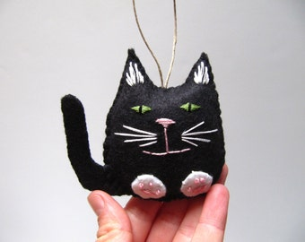 Personalized Black Cat Christmas Ornament, Black Felt Cat Ornament, Custom Cat Ornament, Black Kitty Cat Ornament NEW FOR 2015
