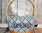 Easter Basket Liner- Boy Blue Plaid, Monogrammed Easter Basket Liner, Comes Personalized