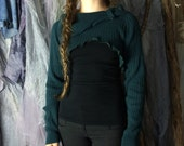 Casual Cozy Blue Cowl-Neck Sweater Shrug
