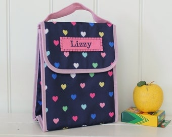 Insulated Lunch Sack With Monogram Pottery Barn -- Navy/Pink Multi Heart