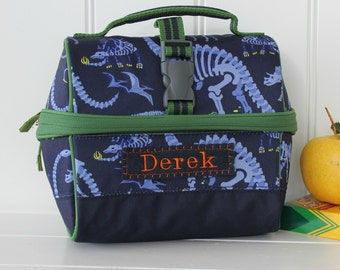 Lunch Bag With Monogram Pottery Barn Retro Style -- Navy Dino