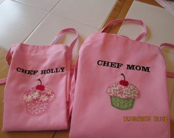 Aprons- Mother and Daughter- Matching- Appliqued Cupcakes-