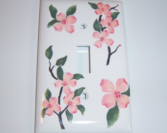 Pink Dogwoods - single light switch cover