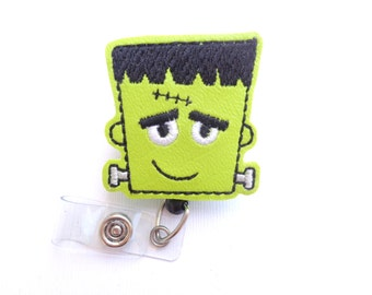 Halloween Badge Holder - Fun Frankenstein - lime green marine vinyl badge reel - nurse badge reel medical badge reel monster