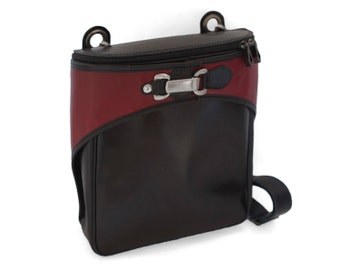 Black and red messenger, red vintage style bag  - VIA II