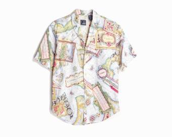 Vintage 90s Kitsch Cartographers Shirt / Map Blouse - women's petite
