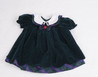 Vintage Green Velvet and Plaid 24 Months Dress Puff Sleeves Pan Collar Special Occasion Outfit Baby Toddler