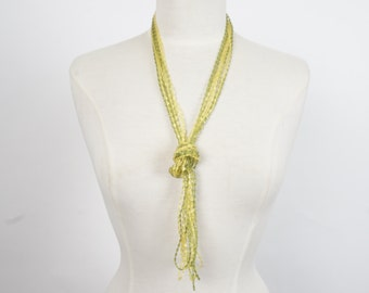 extra long yellow and green multi strand beaded necklace 60s 70s vintage bead opera length necklace