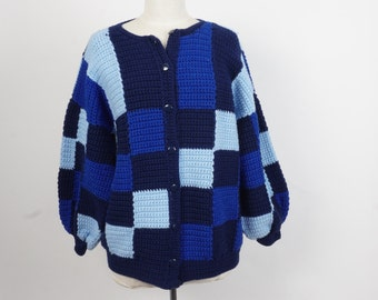 oversize slouchy blue hand knit afghan cardigan 70s 80s vintage button up granny squares patchwork sweater large XL
