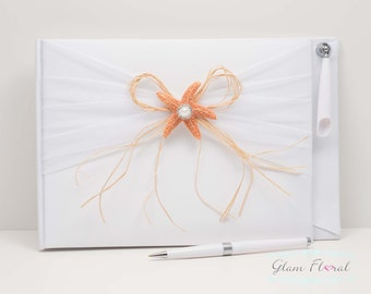 Starfish Guestbook & Pen Set, white fabric covered guest book with orange sea star, rhinestone pearl piece, raffia bow